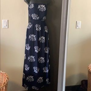 HOLLISTER size small strapless dress blue/white
